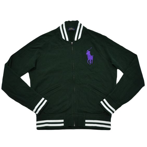 Polo Ralph Lauren Mens Big Pony Baseball Jacket (College Green Purple Pony , Medium)