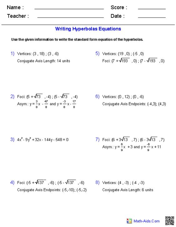 Writing Equations of Hyperbolas Worksheets – Equation of a Circle Worksheet