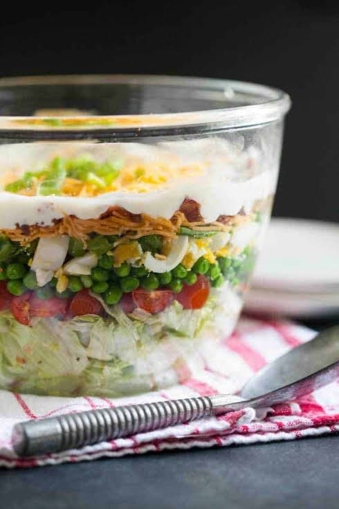 Traditional Seven Layer Salad Recipe Yummly Recipe Seven Layer Salad Layered Salad Layered Salad Recipes