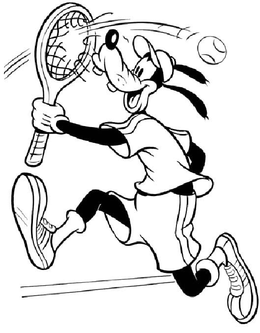 goofy playing tennis coloring page