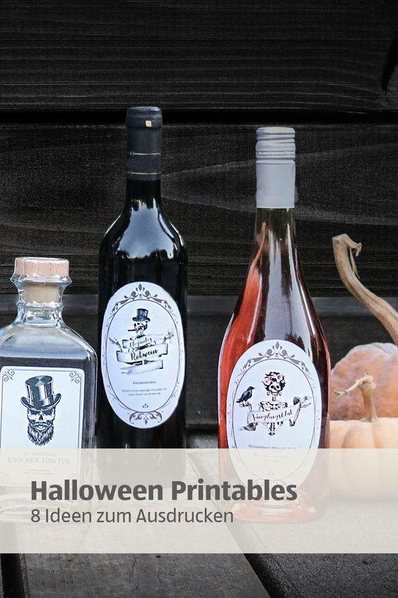 Mach Deine Wein Und Ginflaschen Halloween Fit Einfach Unsere Schaurig Schonen Etiketten Ausdrucken Aufkleben Und Fe Halloween Etiketten Weinflasche Flaschen
