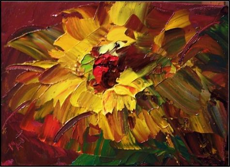 Spread a little sunshine sunflower painting palette for How to paint with a palette knife with acrylics