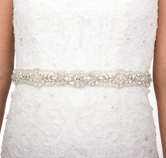 Crystal pearl bridal sash antiqued silver rhinestone for Pearl belt for wedding dress