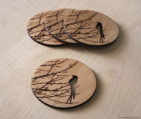 Bird Patterns on  Wooden Coasters.