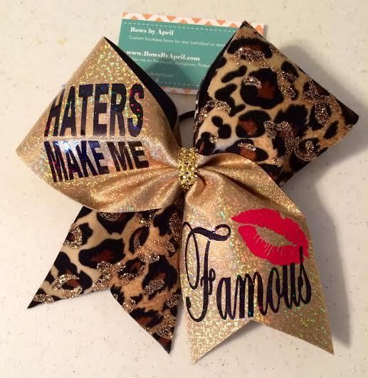 Bows by April - Haters Make Me Famous Gold Mystique and Gold Glitter Cheetah, $20.00 (http://www.bowsbyapril.com/haters-make-me-famous-gold-mystique-and-gold-glitter-cheetah/)