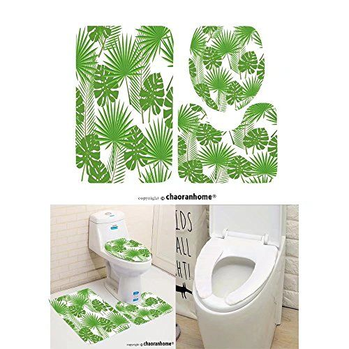 Chaoranhome Pattern Bath Mat Set 3 Piece Bathroom Mats Seamless Tropical Leaves Palm Monstera Bathroom Rugs Co Patterned Bath Mats Toilet Covers Bathroom Rugs