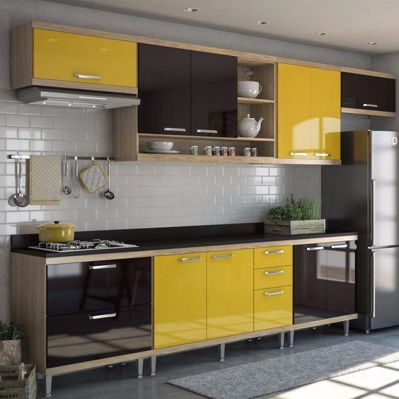 Cozinha Completa 8 Peças Sicília S1T Multimóveis Argila/Amarelo/Preto - MadeiraMadeira