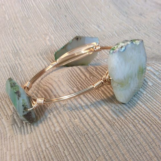 Large green and white quartz nugget wire wrapped bracelet / bangle / Bourbon and Bowties inspired by KiwiMumDesigns on Etsy https://www.etsy.com/listing/287073753/large-green-and-white-quartz-nugget-wire