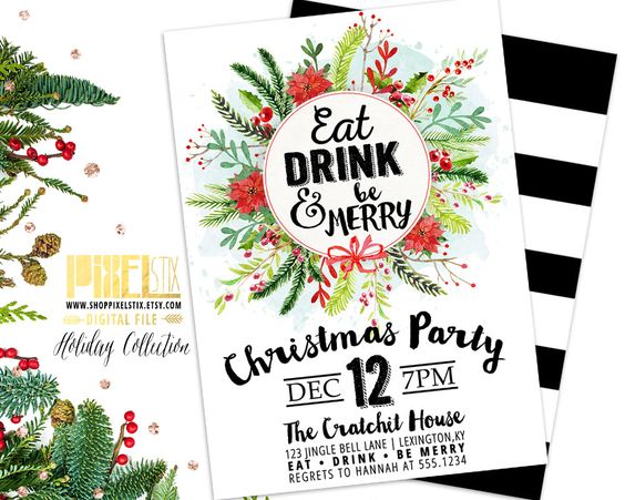 Christmas Party Invitation, Red and Green Christmas Wreath, Holiday Party, Striped Christmas Party, Christmas Bridal Shower Invite, Office by shopPIXELSTIX on Etsy