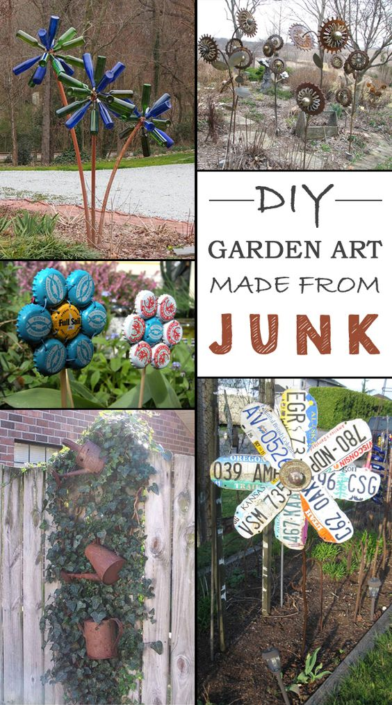 Garden art garden decorations and unique on pinterest for Fun garden decoration ideas