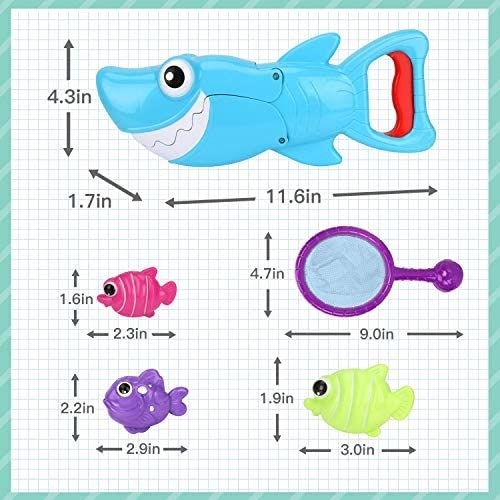 Shark Grabber Baby Bath Toy Set Bathtub Toy BAMMAX Bath Toys Great White Shark Toy with Teeth Biting Action with Pole Rod Net/&8 Floating Fish Water Bathroom Toy Bathtime Game for Toddler Infant kid