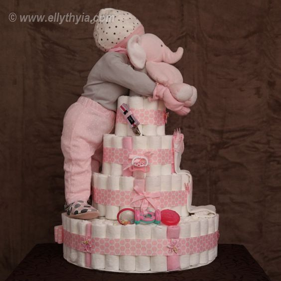 Pink Elephant and Baby Girl Diaper Cake - Side Diaper ...