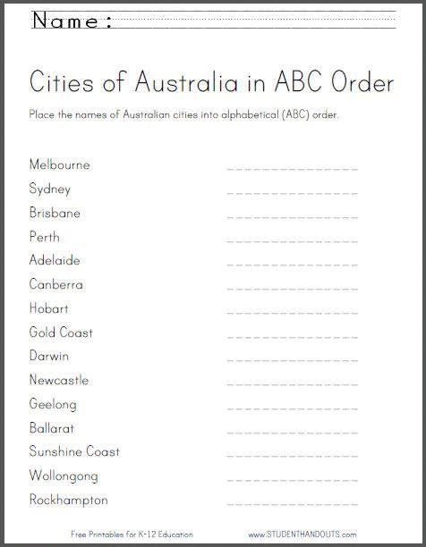 Australian Cities In Abc Order Worksheet Student Handouts Abc Order Worksheet Abc Order Abc Printables Free kindergarten worksheets australia