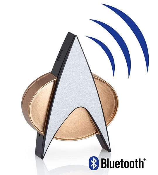 Behold the Star Trek TNG Bluetooth ComBadge. It hooks up to your phone or device via Bluetooth and has a built-in microphone for hands-free calling. Once connected, one touch answers/ends calls, plays/pauses audio, or accesses Siri or Google Now.