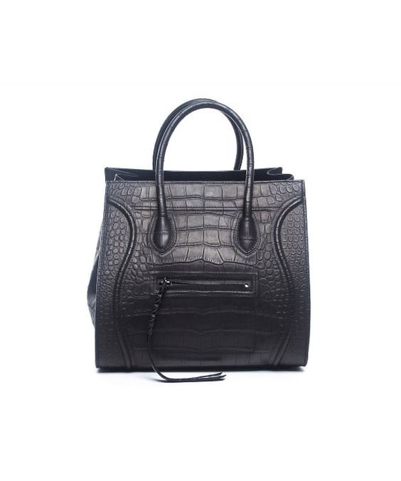 celine purses online shop - Celine Pre-Owned Celine Black Croc Embossed Leather Small Phantom ...