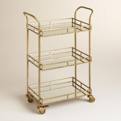 gold cole 3 tier rolling bar cart small guest rooms guest rooms and cost plus. Black Bedroom Furniture Sets. Home Design Ideas
