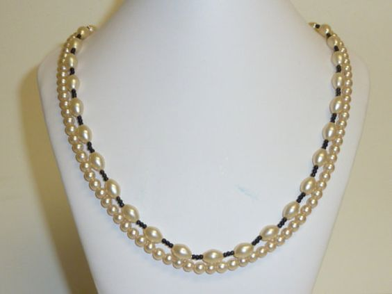 Vintage Double Strand Pearl Necklace / Cream by labaublesandbags, $14.00