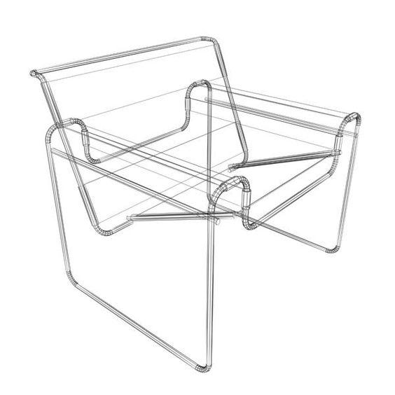 Barcelona chair dimensions - Wireframe Breuer Wassily Chair Marcel Breuer Knoll International