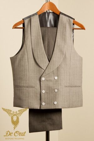 Double Breasted Shawl collar waistcoat light grey with pearl stripe and white buttons. Double Breasted Vest / Gilet Sjaal Kraag licht grijs met lichte accent streep en witte knopen. Cape Horn Collection by Holland & Sherry