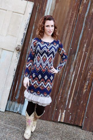 Tribal Print Sweater Tunic/Dress-Wear Us Out Boutique Conroe/Montgomery, TX