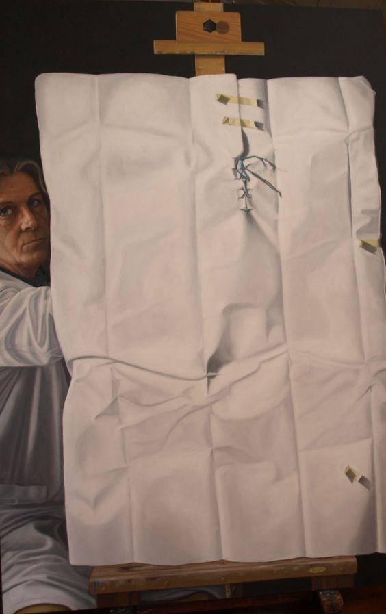 Obra denominada Y AHORA COMO PINTO, realizada en óleo sobre lienzo de 150x100 y bastirdor de 3,50 cm.