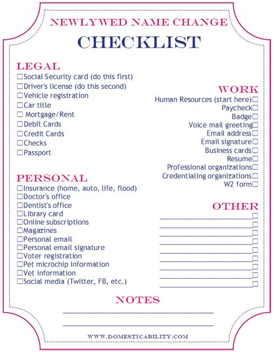 Free Printable Name Change Checklist Wedding Things To Do After