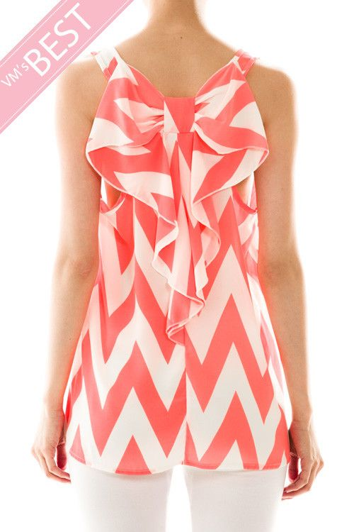 Bow Back Sleeveless Chevron Top In Coral