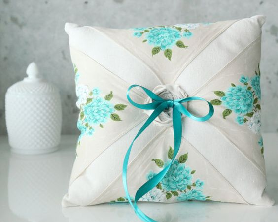 vintage ring pillow with aqua floral design (by gathered) #handmade #wedding width=