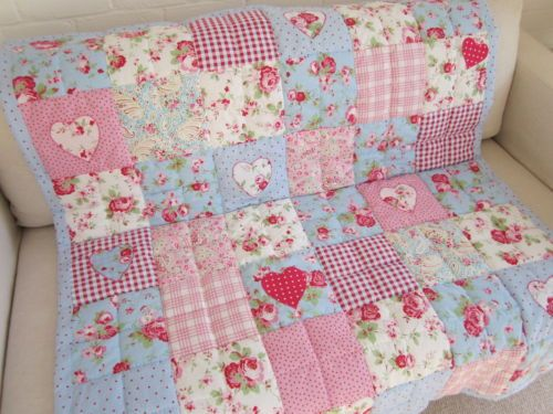 Vintage style baby quilt cot quilt crib quilt true vintage French ... : cot patchwork quilt patterns - Adamdwight.com