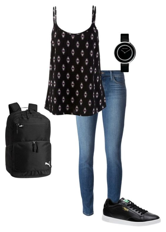 """Awesome Black"" by miss-marvelous-designer ❤ liked on Polyvore featuring J Brand, Georg Jensen, Puma and marvelousfashiondesigner"