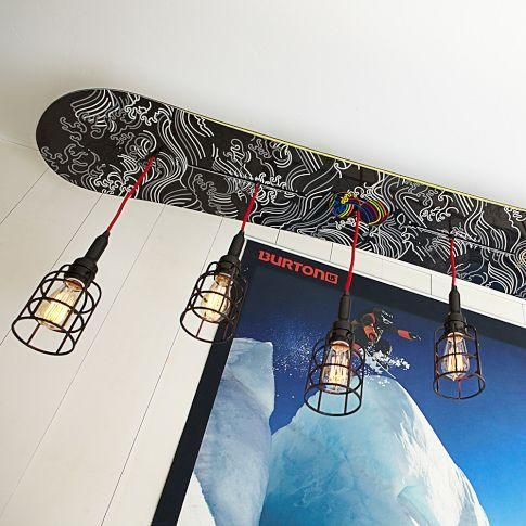 Lighting burton snowboard pendant pbteen skateboard for Snowboard decor
