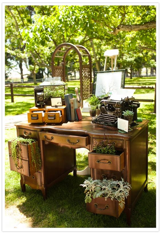 old furniture and plants
