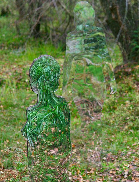 mirror statues in Queen Elizabeth     Forest Park in Aberfoyle, Scotland