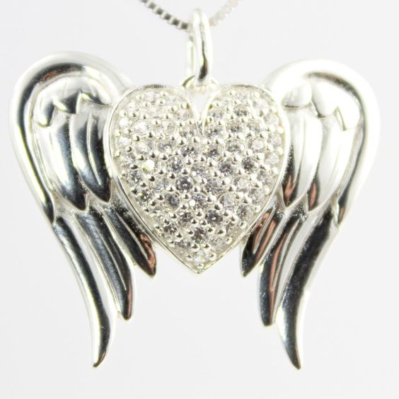 Heart Angel Wings Cubic Zirconia Silver Pendant Necklace