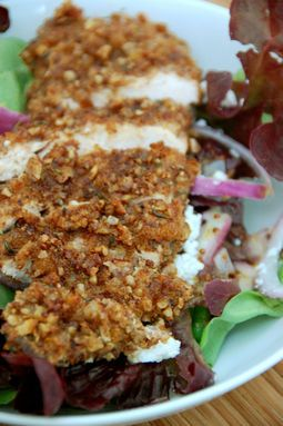 Pecan Crusted Chicken - Pinner Says: Yum!  I made this and it was good. Add Lettuce, Craisins, Red Onion, Celery, Green Pepper and a Raspberry Vinaigrette and enjoy!