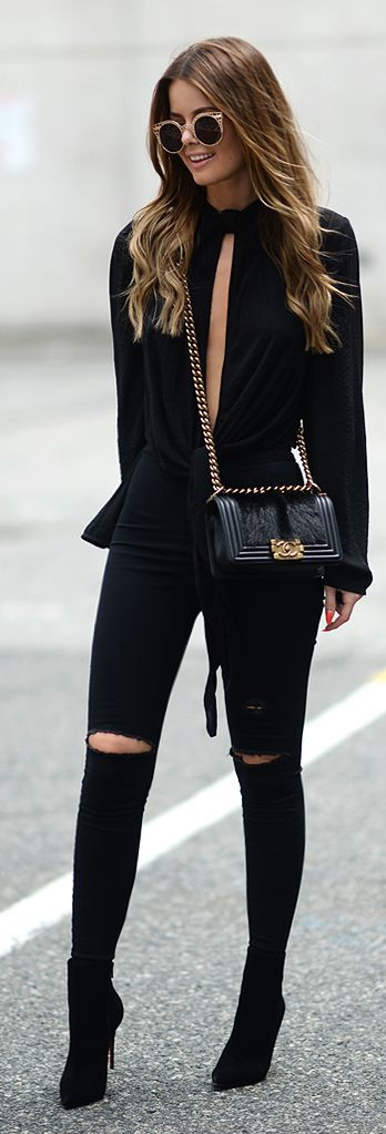 Black Plunging V-neck Peplum Top by Annette Haga ☟follow my pinterest for more pins like this pls☟: