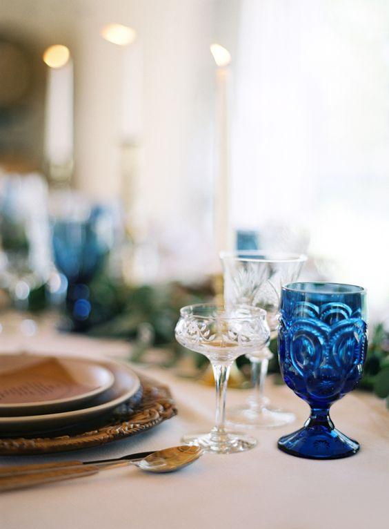 Pretty blue glassware