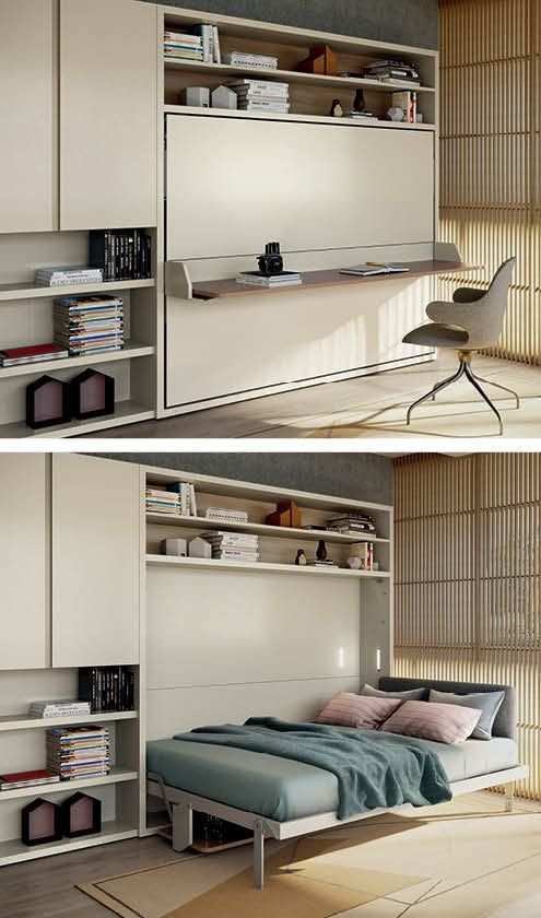 Save Space And Set Up You Home Office And Bedroom In A Single Corner Of Your Home Sofa Bed Design Wall Bed Office Room Design Bedroom