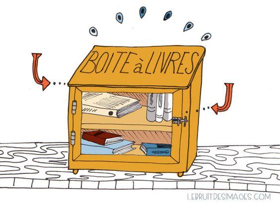 Une boîte à livres, c'est une boîte, une étagère, un bac qui est placé dans l'espace public et où l'on dépose ou prend des livres. Les livres voyagent, reviennent parfois. C'est un bel exemple de partage et de gratuité. Il y a une boîte à livres près de chez moi,...