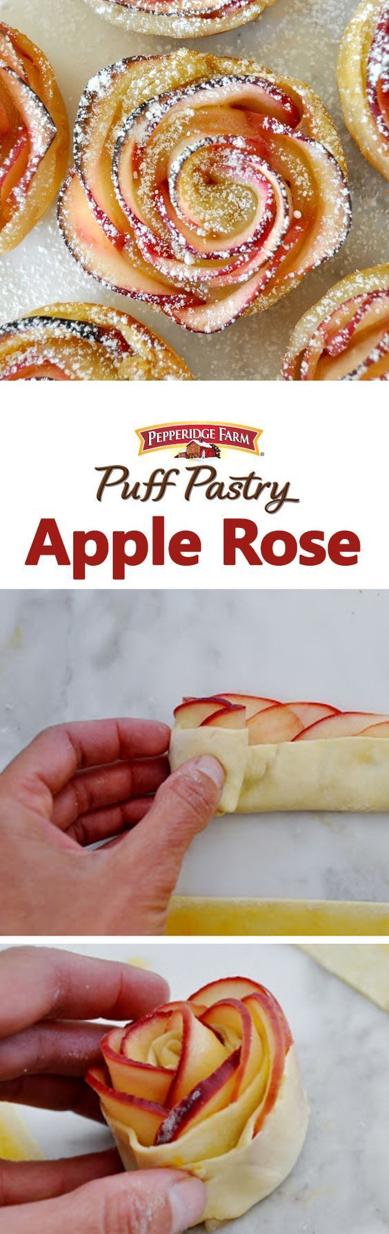 "Puff Pastry Apple Rose Recipe. ""You don't need to be a pastry chef to bake this deliciously tempting rose-shaped dessert. It tastes just like apple pie. And it looks a lot like a beautiful red rose. Made with naturally sweet apple slices, sprinkled with cinnamon and rolled up in a perfectly crispy puff pastry."" - Manuela from Cooking With Manuela."