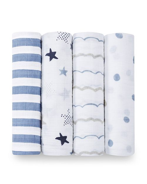 Muslin Squares Blue//White, Stars /& Stripes, Pack of 4