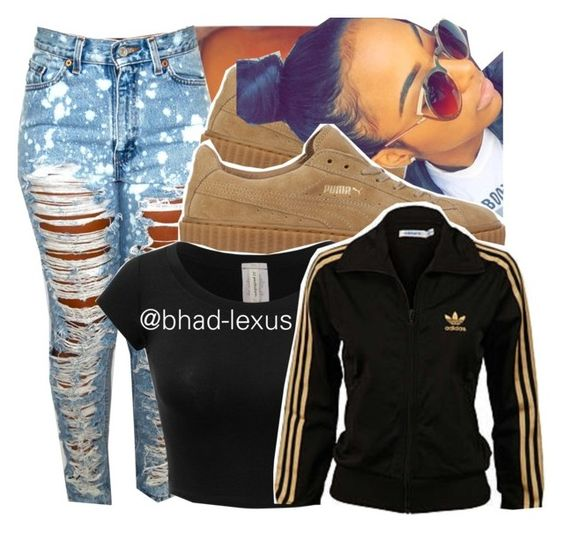 """hair 😍"" by bhad-lexus ❤ liked on Polyvore featuring Puma and adidas"