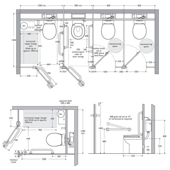 dimensions of disabled toilet.  Pinterest Cubicle Toilet and Interiors