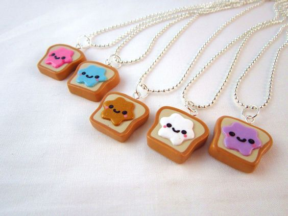 Best Friends Kawaii Peanut Butter and Jelly Toast Polymer Clay Charms BFF Silver Necklace. $18.00, via Etsy.