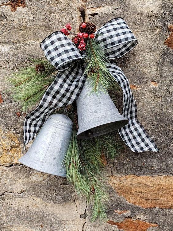 Christmas wreaths for front door, Bells, Farmhouse Christmas wreath, Farmhouse Christmas Bells swag, Christmas swag, Rustic Christms wreath