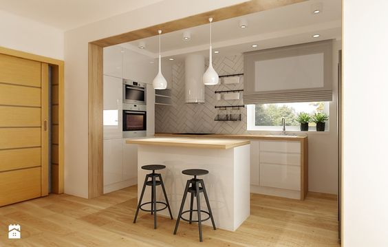 Metamorfoza kuchni i jadalni - Średnia otwarta kuchnia w kształcie - brigitte küchen händler