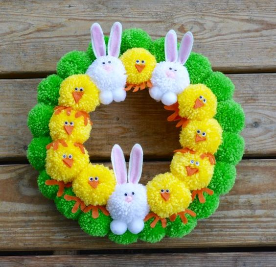 Easter Pom Pom Wreath with Bunnies and Chicks, Bright Easter Pom Pom Wreath