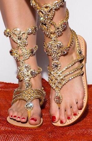 Gladiator Embellished Gold Leather Sandals Gold