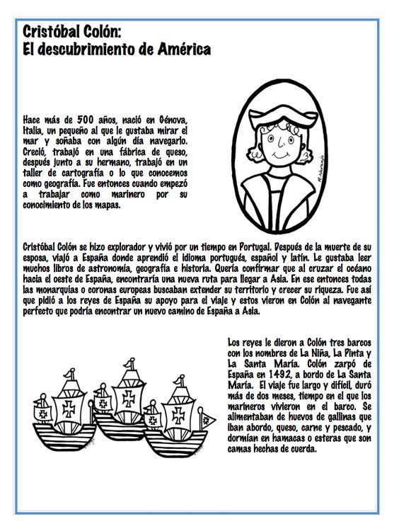 Christopher Columbus's trip to America. Spanish lesson. (Cristobal Colon: El Descubrimiento de America) http://www.teacherspayteachers.com/Store/Monica-Naranjo