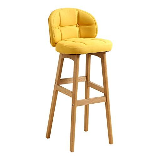 Barstools Chair With Backrest And Footrest Yellow Linen Cover Seat Dining Chairs For Pub Kitchen Ba Bar Stool Furniture Home Bar Furniture Bar Chairs Kitchen